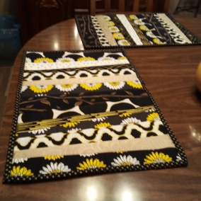 Black and Gold Quilted Placemats