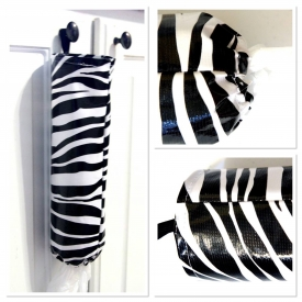 Oilcloth Store Bag Holder – Black & White Zebra Print