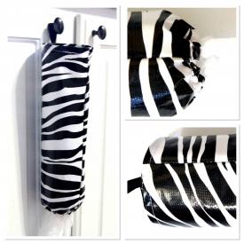 Oilcloth Store Bag Holder – Black & White Zebra Print
