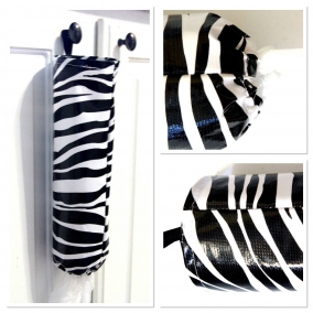 Oilcloth Store Bag Holder – Black & White Zebra Print – FREE SHIPPING ON ALL ITEMS!