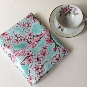 Pretty Turquoise With Cherry Blossoms Oilcloth NWT Pocket Bible Cover – FREE SHIPPING ON ALL ITEMS!