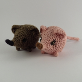Amigurumi Sengi or Elephant Shrew, cute crochet animal with a long nose and tail.