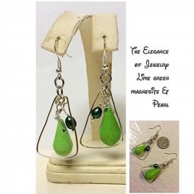 Lime Green Magnesite and freshwater emerald Pearl earrings