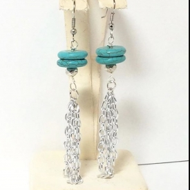 Genuine Turquoise beads with chain tassel earrings
