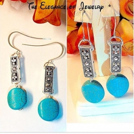 Turquoise colored Magnesite drop with pewter rectangle bead earrings