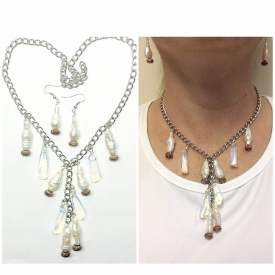 Freshwater stick Pearls and Opalite dangles on a chain necklace