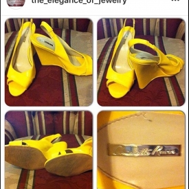Yellow Charlotte Russe high heel wedge shoes