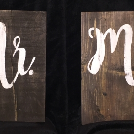 2 Piece Mr & Mrs 10″ x 11″ Wall Decor Signs Personalize-able Recycled Materials