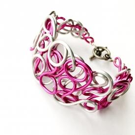 Pink & Silver Wire Cuff Bracelet