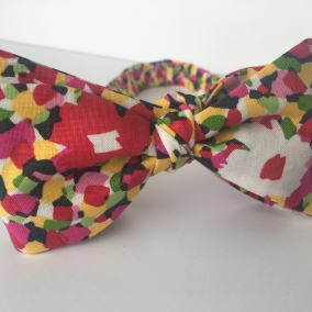Red Floral Bow Tie, Self Tie Bow Tie for Men, Gift for Brothers