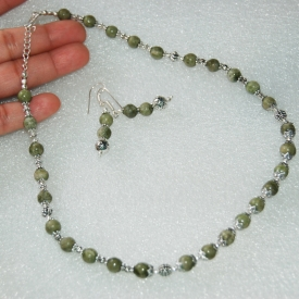 Handmade Serpentine Necklace & Earrings Set
