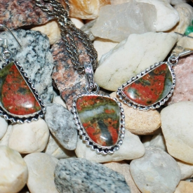 Unakite Crescent Pendant & Earrings Set