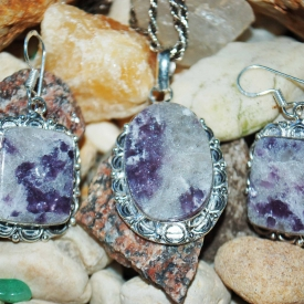 Lilac Lepidolite Pendant & Earrings Set