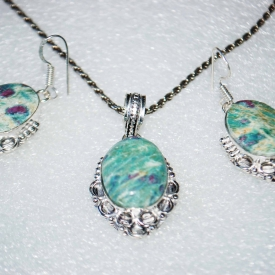 Ruby Fuchsite Pendant & Earrings Set