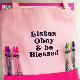 Listen obey and be blessed meeting bag