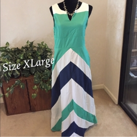 Chevron Striped Ladies Long Dress, Size XL