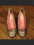 Vintage leather bronze high-heel shoes. Size 6.5