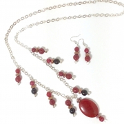 Red, Black Agate dangles, pendant long chain necklace set