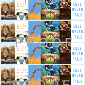 Love Never Fails BOOKMARKS for ALL 2019 Conventions- Animal Love