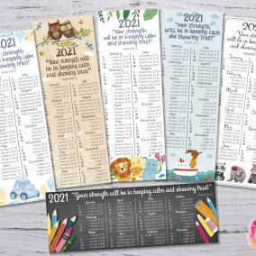 6 Bookmarks 2021 Bible Reading Schedule + Yeartext Children – Printable file