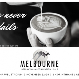 Love Never Fails Postcards for Melbourne International 2019 – Coffee Culture – Black & White