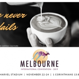 Love Never Fails Postcards for Melbourne International 2019 – Coffee Culture – Colour