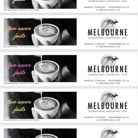 Love Never Fails Bookmarks for Melbourne International 2019 – Coffee Culture – Colour