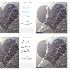 Love Never Fails POSTCARDS for ALL International Conventions 2019 – Beach Theme