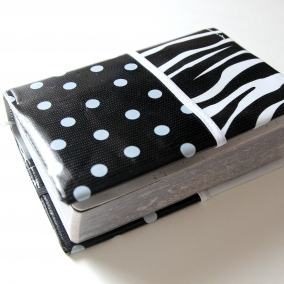 NWT Oilcloth Pocket Bible Cover – Zebra And Polka Dots Trimmed in White – FREE SHIPPING ON ALL ITEMS!