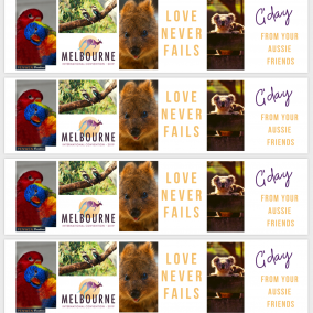 Love Never Fails BOOKMARKS for Melbourne International 2019 – G'day from Your Aussie Friends