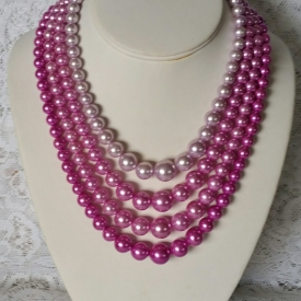 Stunning, Magenta, Vintage, 4 Strand, Faux Pearls, 1950's, Necklace