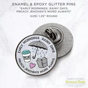 """Enamel & Epoxy Glitter Lapel Pin """"Preach Jehovah's Word Always"""""""