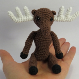 Amigurumi moose small, cute crochet animal.
