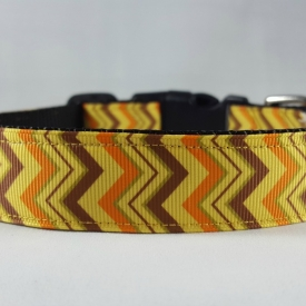 Orange/Yellow/Brown Chevron Dog Collar- Medium/Large