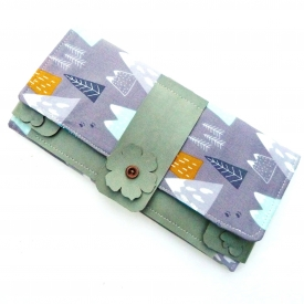 Tract Invitation & Contact Cards Holder Fabric Vegan Leather Kraft Tex And Magnetic Snaps