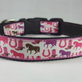 Pink Horses and Horseshoes Dog Collar- Medium/Large