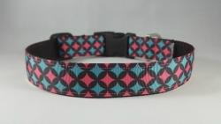 Pink/Blue Diamonds Dog Collar- Medium/Large