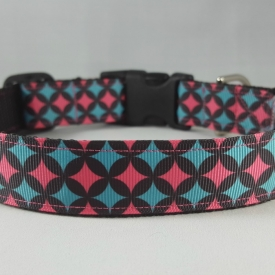 Pink/Blue Diamonds Dog Collar- Medium/Large