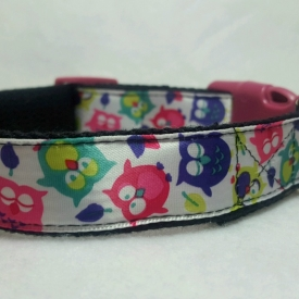 Pink/Purple Owls Dog Collar- Medium/Large