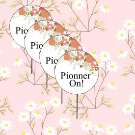Floral Pionner On Cupcake Toppers