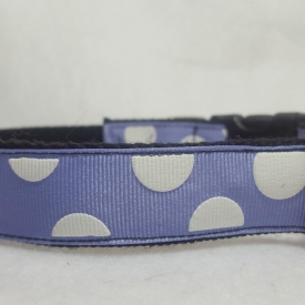 Purple w/White polka dots Dog Collar- Medium/Large