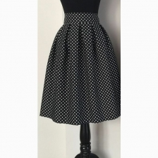 Midi Black Pleated Skirt Polkadot