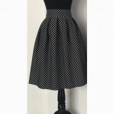 Midi Black Pleated Skirt Polkadot