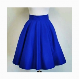 Half Circle Royal Blue Midi Skirt