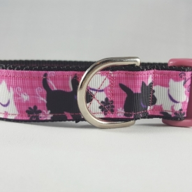 Pink w/Black and White Scotty Dog Dog Collar- Medium/Large