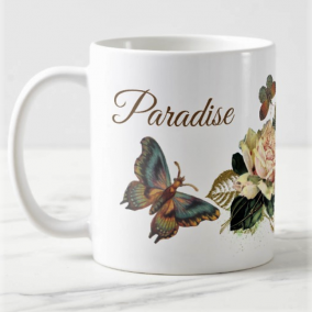 Just Around The Corner | Shabby Chic Flowers & Vintage Butterfly Mug