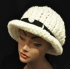 Off-White Crochet Hat with Black Polka Dots