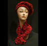 Red and Black Scarf and Hat Set