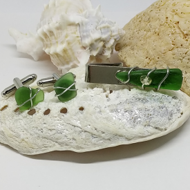 Men's Spring Green Sea Glass Tie Clip and Cuff Link Ensemble