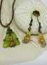 Citrine Sea Glass and Swarovski Crystal Pendant with Matching Swarovski Crystal Earrings